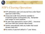 ntp s clearing operations