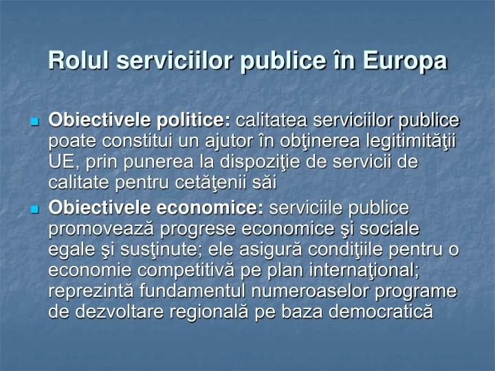 Rolul serviciilor publice în Europa