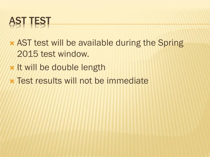 AST test will be available during the Spring 2015 test window.