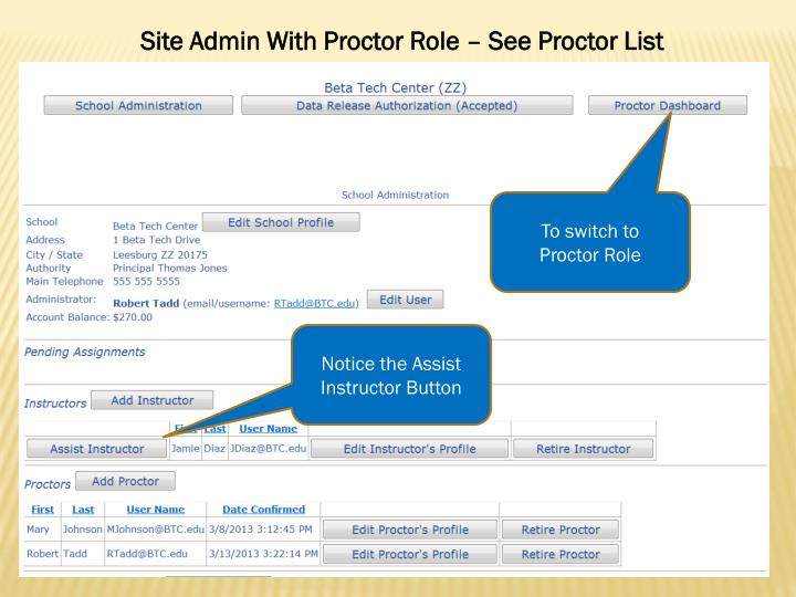Site Admin With Proctor Role – See Proctor List