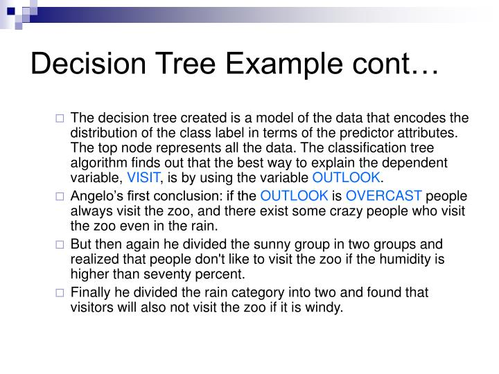 Decision Tree Example cont…
