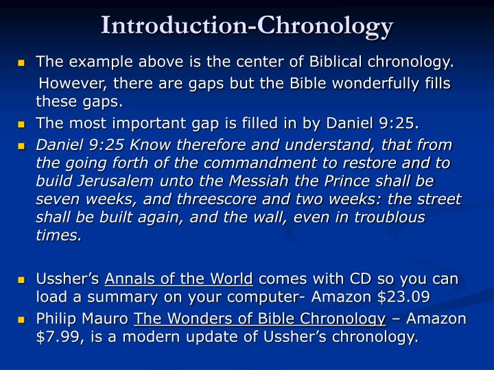 Introduction-Chronology