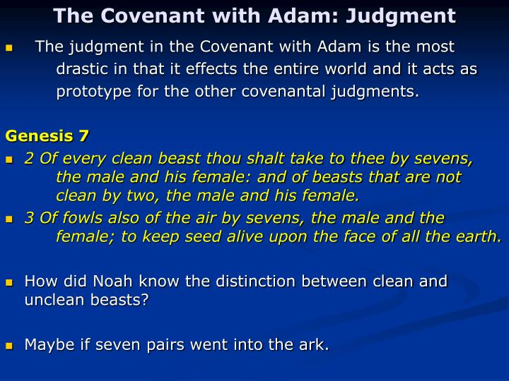 The Covenant with Adam: Judgment