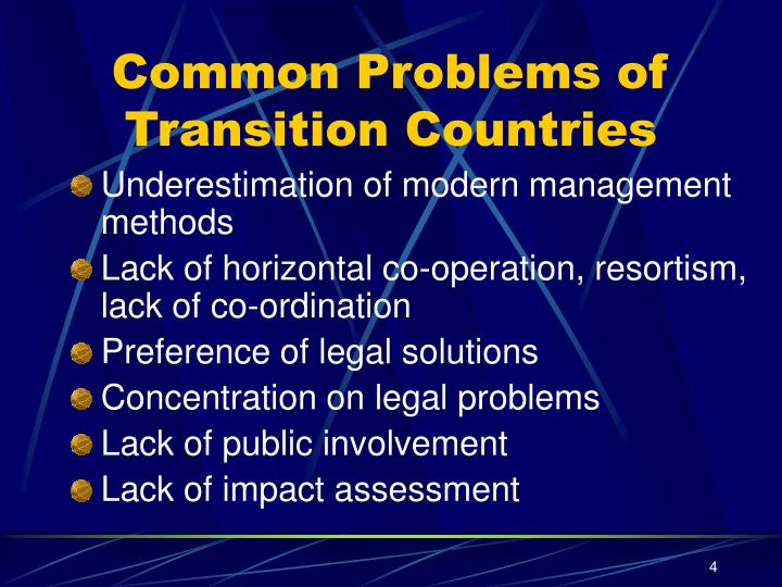 Common Problems of Transition Countries