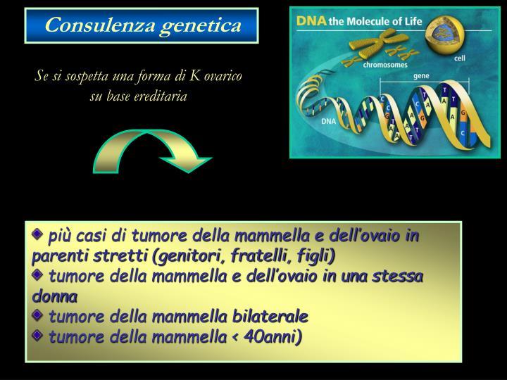 più casi di tumore della mammella e dell'ovaio in parenti stretti (genitori, fratelli, figli)
