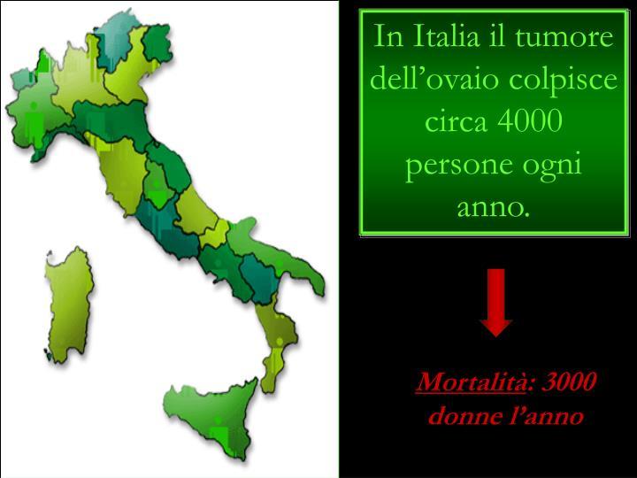 In Italia il tumore dell'ovaio colpisce circa 4000 persone ogni anno.