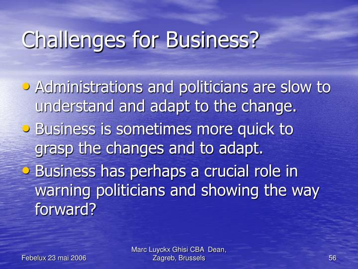 Challenges for Business?
