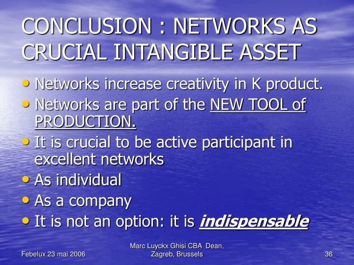 CONCLUSION : NETWORKS AS CRUCIAL INTANGIBLE ASSET