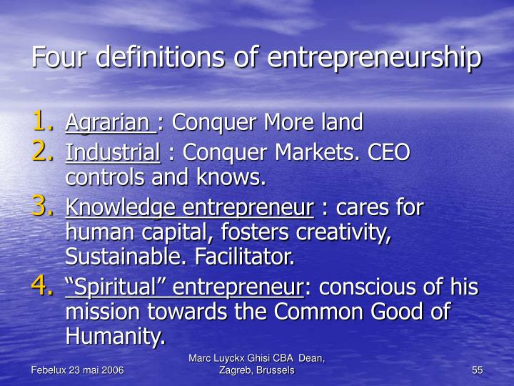 Four definitions of entrepreneurship
