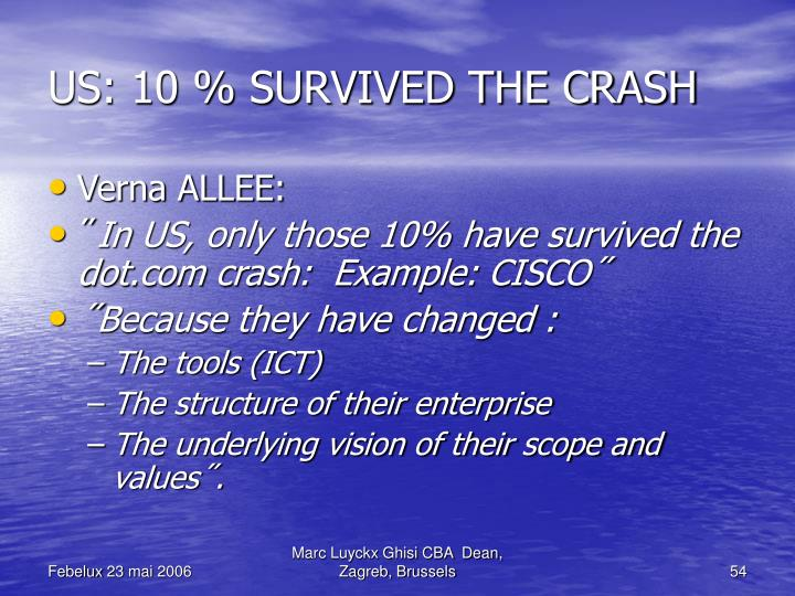 US: 10 % SURVIVED THE CRASH