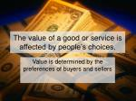 the value of a good or service is affected by people s choices