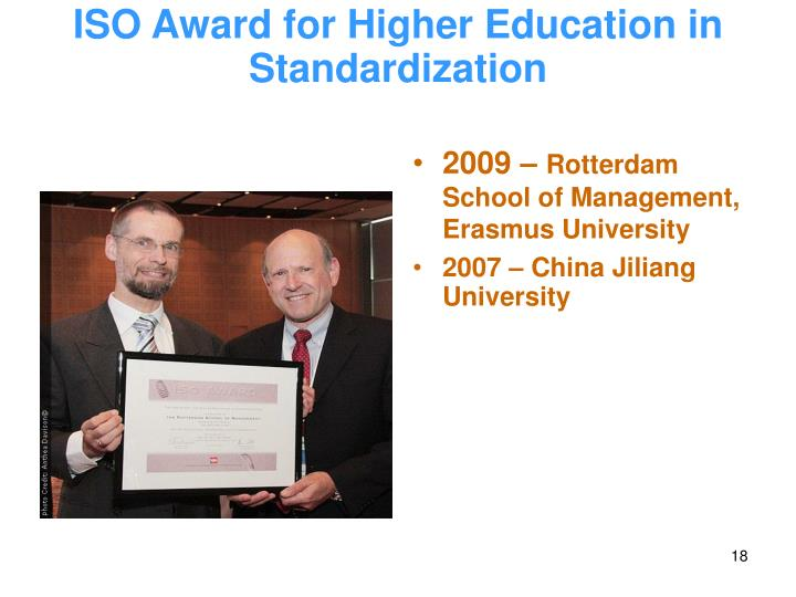 ISO Award for Higher Education in Standardization