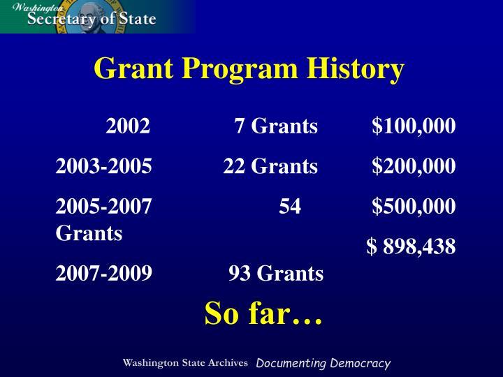 Grant Program History