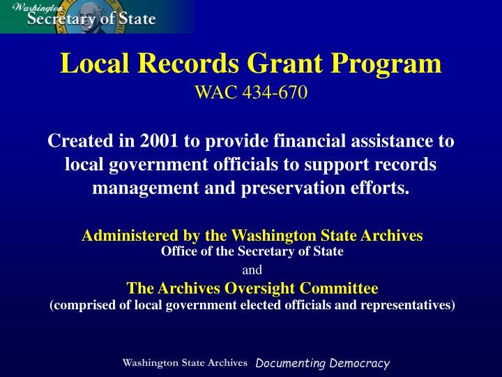 Local Records Grant Program