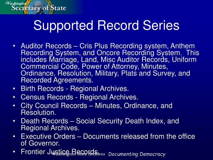 Auditor Records – Cris Plus Recording system, Anthem Recording System, and Oncore Recording System.  This includes Marriage, Land, Misc Auditor Records, Uniform Commercial Code, Power of Attorney, Minutes, Ordinance, Resolution, Military, Plats and Survey, and Recorded Agreements.