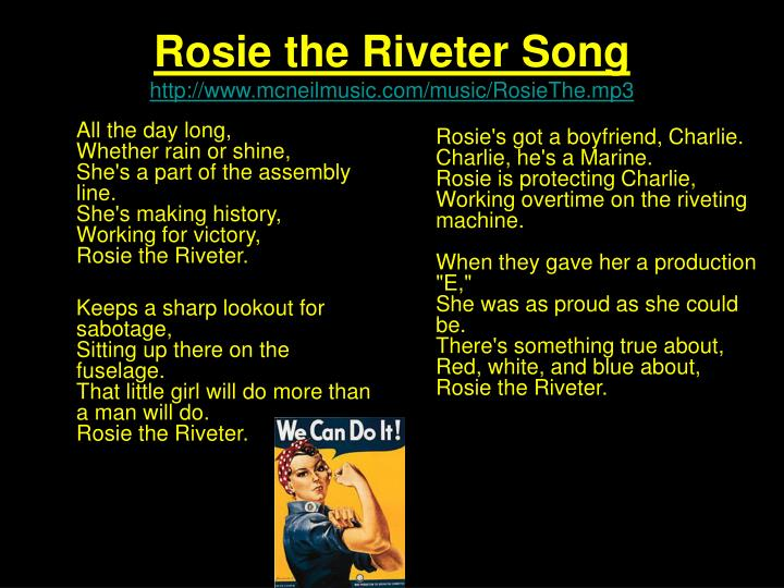 why rosie the riveter essay example Why rosie the riveter answers for the future of women history is often taken for granted in today's society without certain events in our nations past, the america we live in today would be vastly different.