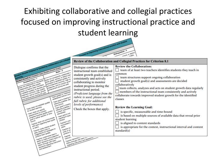 Exhibiting collaborative and collegial practices focused on improving instructional practice and student learning