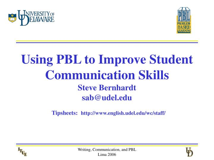 Using PBL to Improve Student Communication Skills