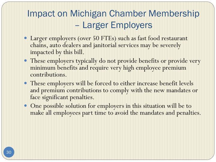 Impact on Michigan Chamber Membership – Larger Employers
