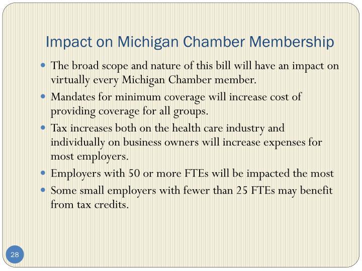Impact on Michigan Chamber Membership