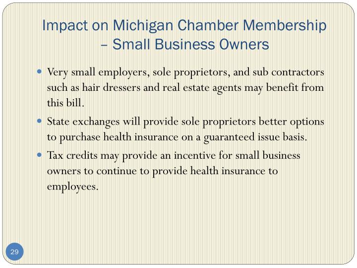 Impact on Michigan Chamber Membership – Small Business Owners