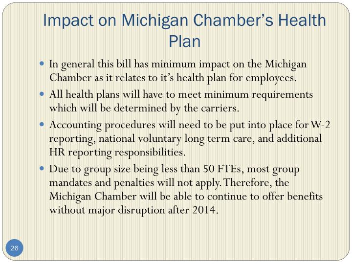 Impact on Michigan Chamber's Health Plan