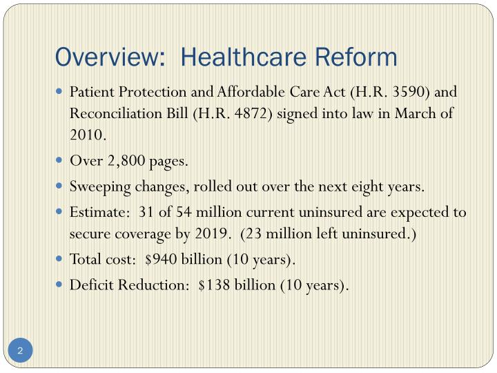 Overview healthcare reform