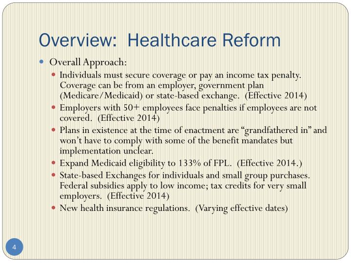 Overview:  Healthcare Reform