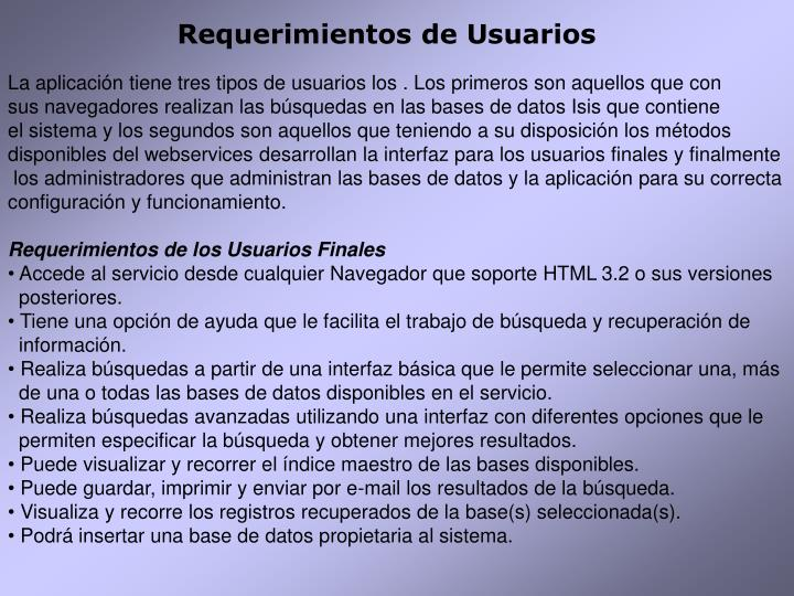 Requerimientos de Usuarios