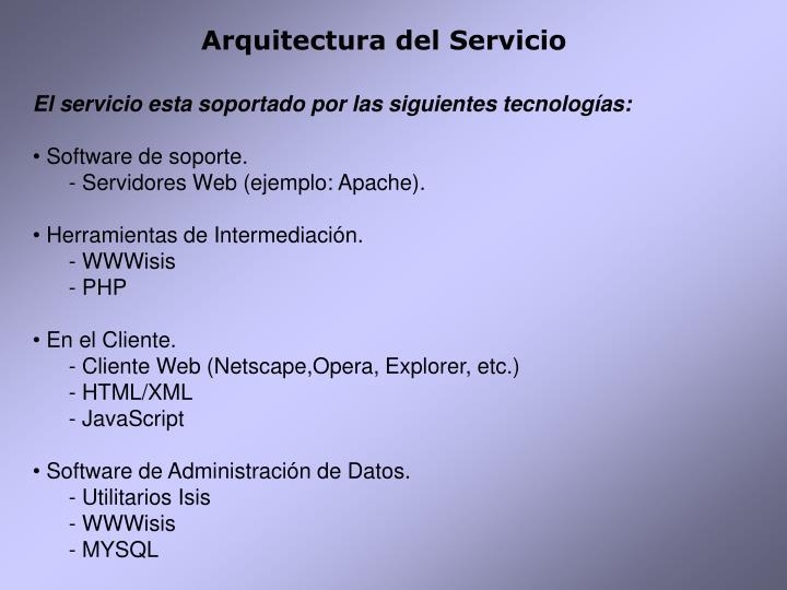 Arquitectura del Servicio