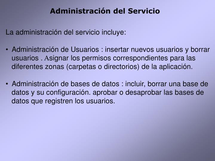 Administración del Servicio