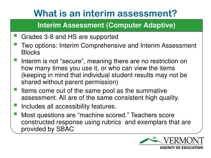 Interim Assessment (Computer Adaptive)
