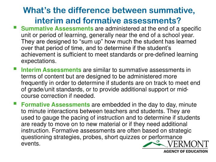What's the difference between summative, interim and formative assessments?