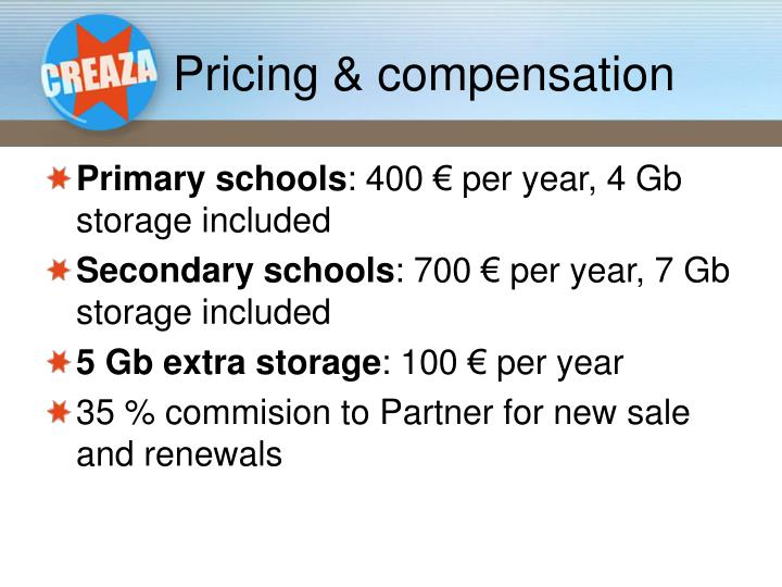 Pricing & compensation