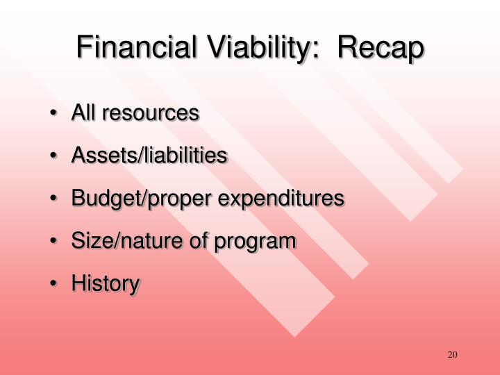 Financial Viability:  Recap