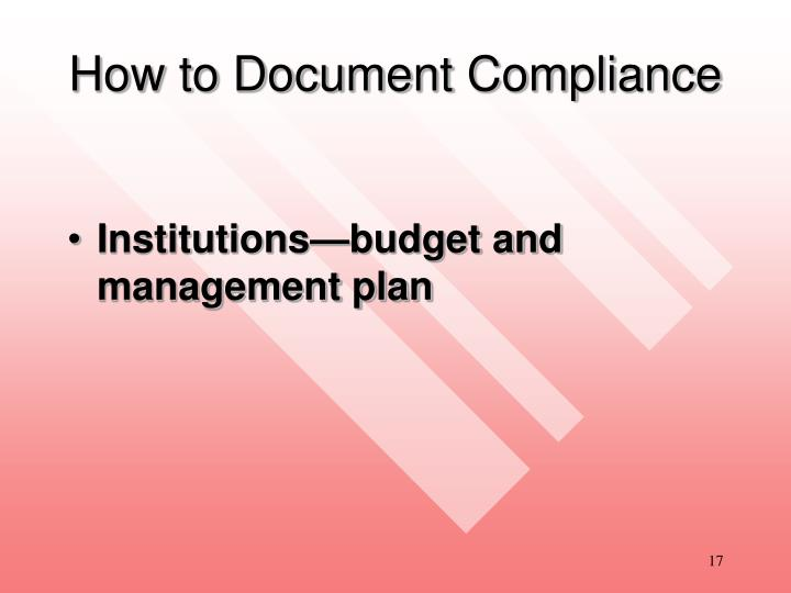 How to Document Compliance