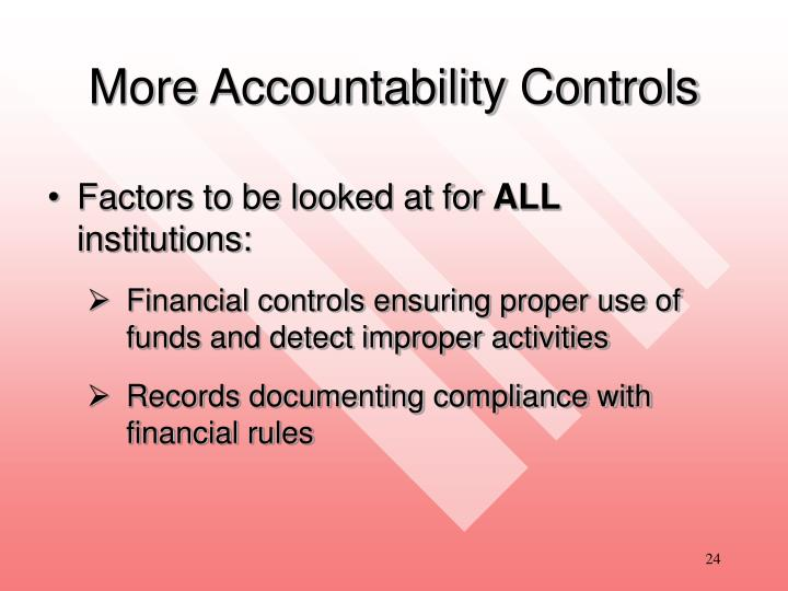 More Accountability Controls