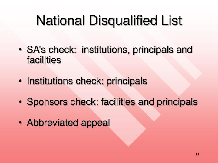 National Disqualified List