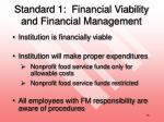standard 1 financial viability and financial management