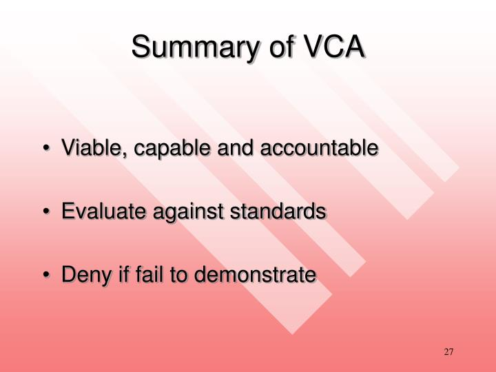 Summary of VCA