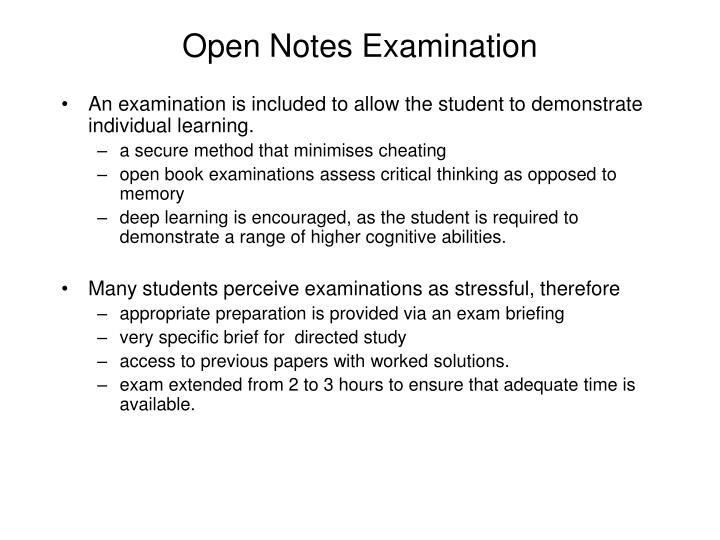 Open Notes Examination