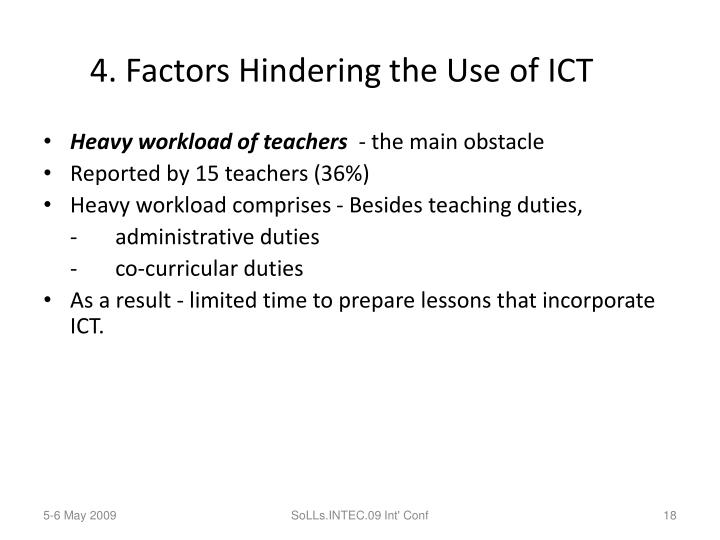 4. Factors Hindering the Use of ICT