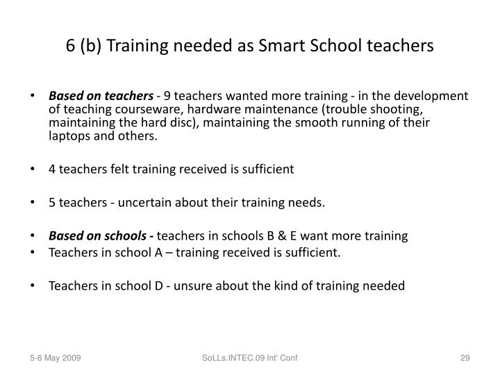 6 (b) Training needed as Smart School teachers