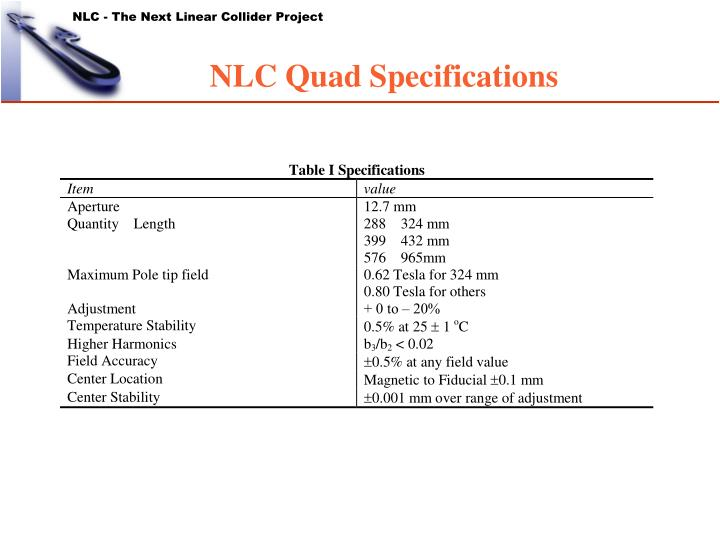 NLC Quad Specifications