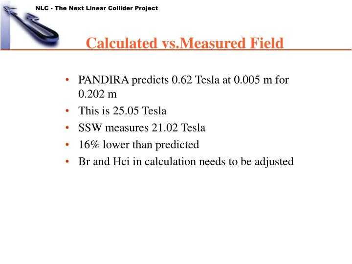 Calculated vs.Measured Field