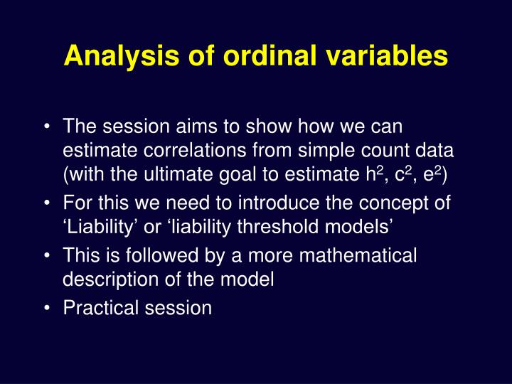 Analysis of ordinal variables
