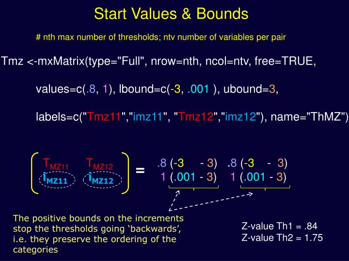 Start Values & Bounds