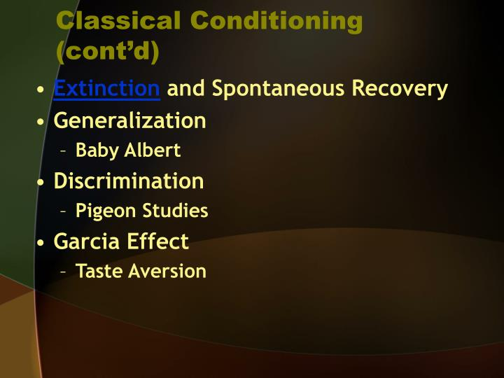 Classical Conditioning (cont'd)