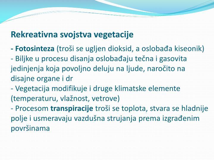 Rekreativna svojstva vegetacije