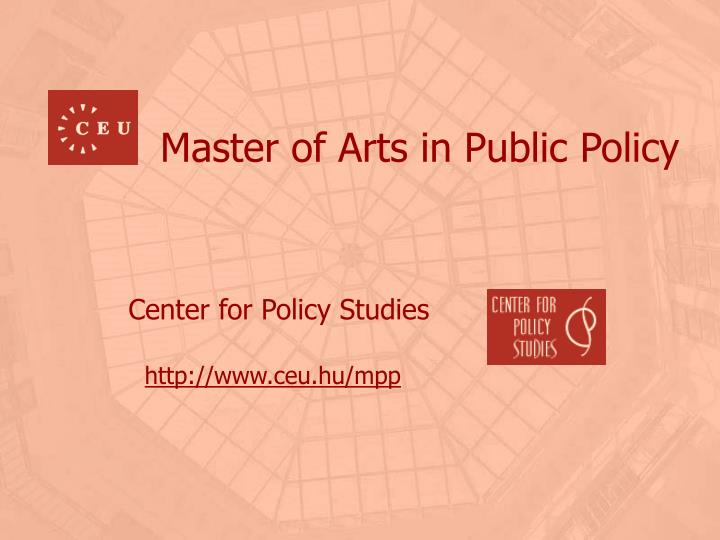 Master of arts in public policy